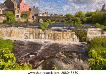 oil painting showing vibrant waterfall nature picture in rural village - stock photo