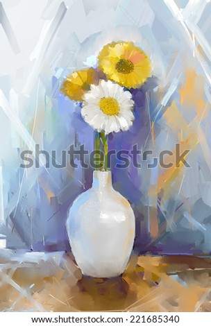 Oil painting still life bouquet Gerbera flowers. White and yellow Gerbera flower in white vase  - stock photo