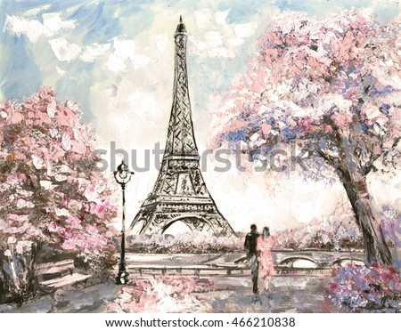 Oil Painting, Street View of Paris. Tender landscape