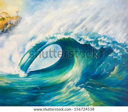 Oil painting. Tsunami - stock photo