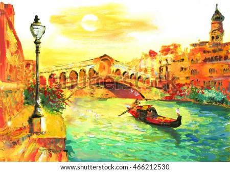 stock photo oil painting venice italy 466212530 - Каталог — Фотообои «Венеция»