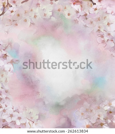 Oil painting white sakura, cherry blossom flowers. Sweet pink and green blue in soft color flowers and blur style for background. Vintage floral spring nature background - stock photo