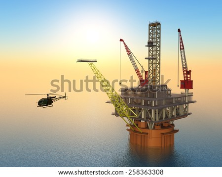 Oil Platform and Helicopter Computer generated 3D illustration - stock photo