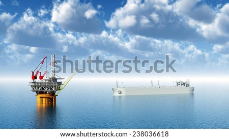 Oil Platform and Supertanker Computer generated 3D illustration - stock photo