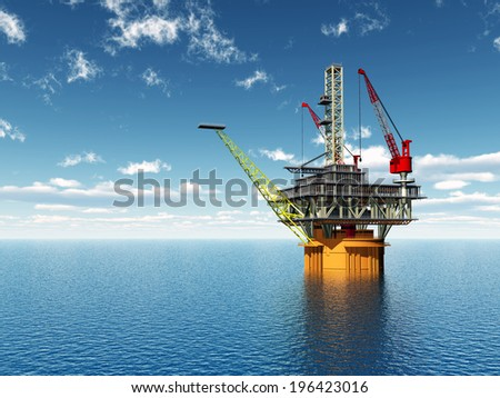 Oil Platform Computer generated 3D illustration