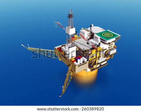 Oil Platform Computer generated 3D illustration - stock photo