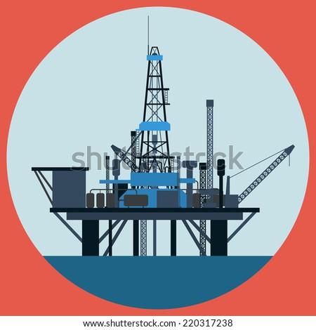 Oil platform illustration. Raster version of artwork. - stock photo