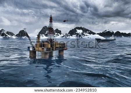 Oil platform in the Arctic Ocean - stock photo