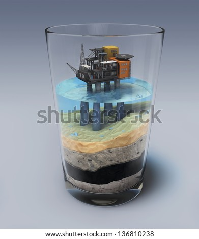 Oil platform in the glass - stock photo