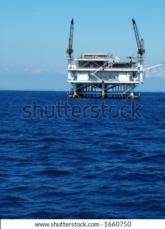 Oil Platform off California Coast, vertical - stock photo