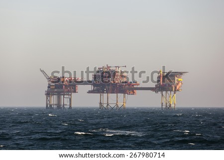 Oil platform on the North Sea - stock photo