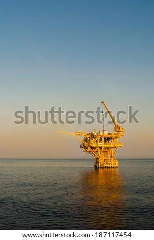 oil platform on the sea - stock photo