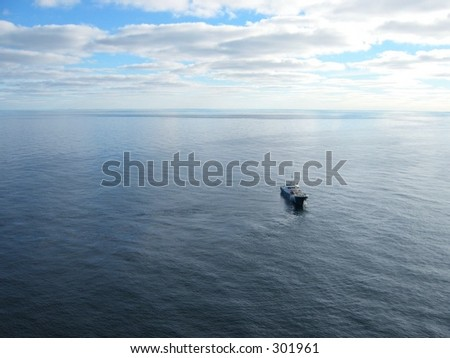 Oil platform search and rescue team moving around the platform. - stock photo