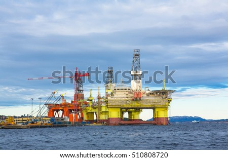 Oil platforms under maintenance near Bergen, Norway