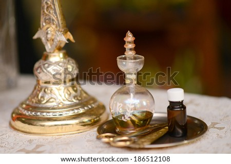 Oil prepared for baptism baby holy Christian Church - stock photo