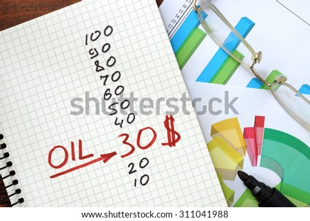 Oil price 30 dollars in a notepad. - stock photo