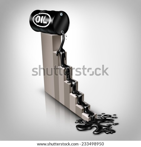 Oil price falling concept as a barrel of crude petroleum spilling down on a financial chart as a symbol for declining prices in fossil energy due to oversupply and overproduction, - stock photo