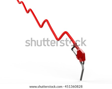 oil price falling concept with 3d rendering red graph and red nozzle - stock photo