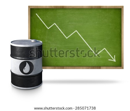 Oil price graph heading down on blackboard with oil barrel - stock photo