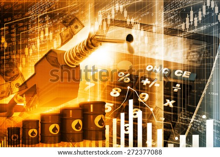 Oil price graph, oil pump nozzle and stock market  chart   - stock photo