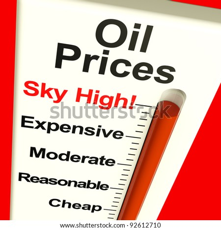 Oil Prices High Monitor Showing Expensive Fuel Cost