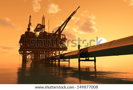Oil production and the pipe in the sea. - stock photo
