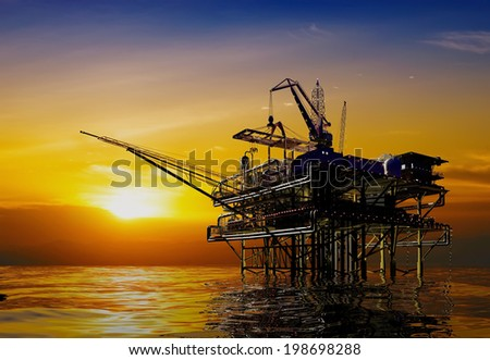 Oil production in the night sea. - stock photo