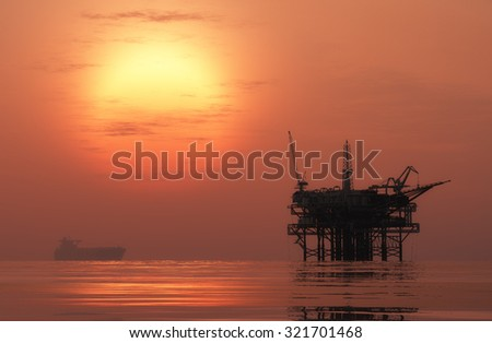 Oil production in the night sea.