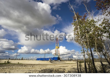 Oil production in the summer in Western Siberia