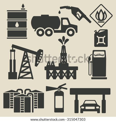 oil production industry icons set - illustration