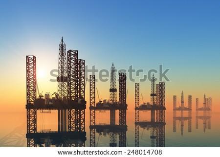 Oil production into the sea - stock photo
