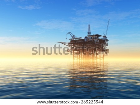 Oil production into the sea in the fog. - stock photo