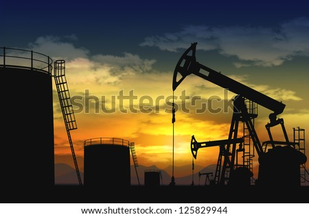 oil pump jack and oil tank silhouette - stock photo