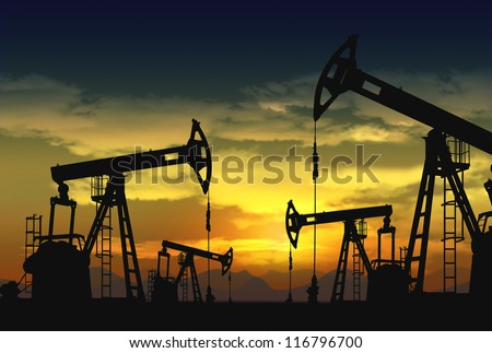 oil pump jack in operation - stock photo