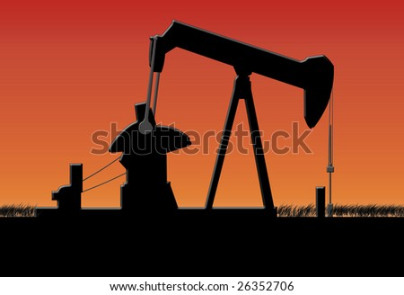 oil pump Jack silhouette at night