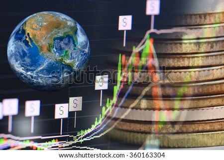 oil pump nozzle and stock chart, Elements of this image furnished by NASA - stock photo