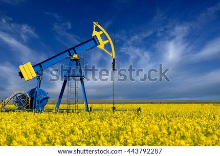 Oil pump. Oil industry equipment in a rape chain