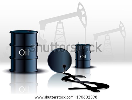 Oil pump oil rig energy industrial machine and barrels of oil  - stock photo