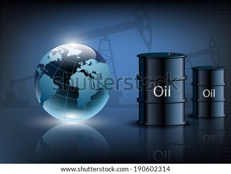 Oil pump oil rig energy industrial machine and barrels of oil on a blue background - stock photo