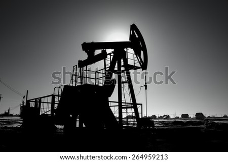 Oil pump on background of blue sky