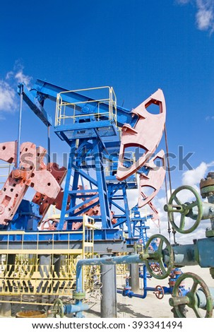 Oil pumps scene - stock photo