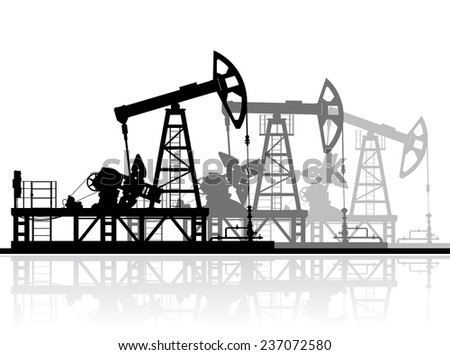 Oil pumps silhouette isolated on white background. Raster version of the illustration. - stock photo