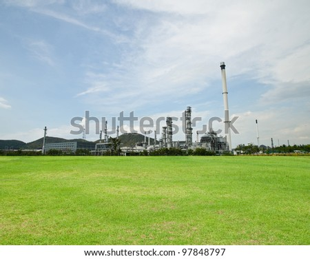 Oil purify plant with blue sky.