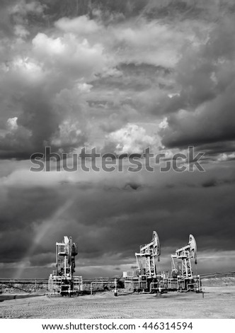 Oil rainbow scene - stock photo