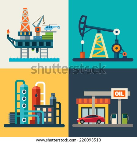 Oil recovery, oil rig, a gas station. Flat illustrations - stock photo
