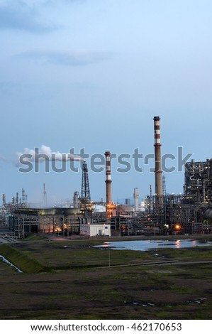 Oil refineries in the night