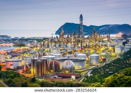 Oil refineries of Wakayama, Japan. - stock photo