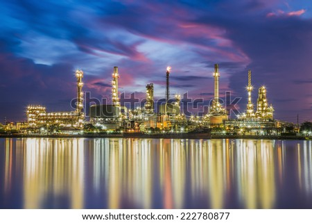 Oil refinery along the river at Dusk (Bangkok, Thailand)