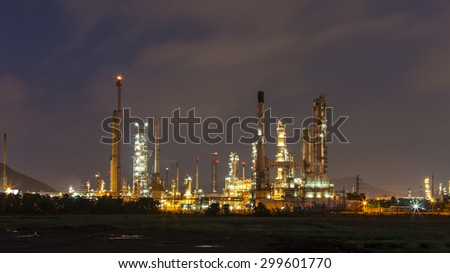 Oil refinery along twilight sky