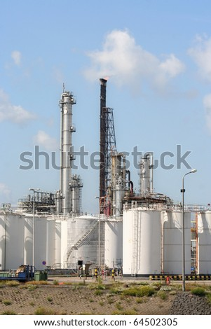 Oil refinery and depots in Rotterdam harbor area - stock photo